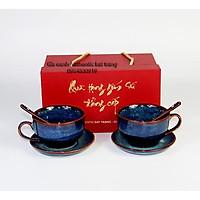 Bộ quà tặng cốc uống trà, cốc uống cà phê capucinno cao cấp - sản phẩm sản xuất tại xưởng gốm sứ authentic bat trang
