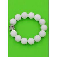 Vòng đeo tay Như lai inox trắng - Chuỗi đeo tay đá san hô trắng 14 ly VSHTNLT14 - Chuỗi đeo tay đá phong thủy