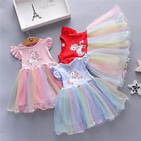 Girl Dress Cotton Blende Sleeveless Rainbow Animal Net Gauze Skirt For 0-4 Years Old Kids