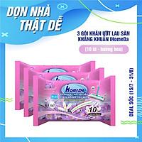 Combo 3 Gói Khăn ướt lau sàn kháng khuẩn hương Hoa tím (10 miếng)
