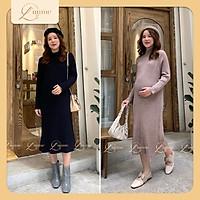 Váy len cổ 5p bầu sau sinh chất len mềm mịn váy bigsize dáng suông ôm body nhẹ che khuyết điểm vòng hai, thích hợp mặc đi làm, đi chơi, dạo phố - Thiết kế bởi LAMME