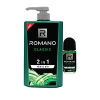 Tắm gội 2 trong 1 Romano Classic cổ điển lịch lãm phiên bản Deluxe nhanh chóng tiện dụng 650gr - Tặng lăn khử mùi Romano Classic 40ml
