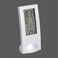 Đồng hồ để bàn trang trí tích hợp lịch ngày tháng và đo nhiệt độ màu trắng