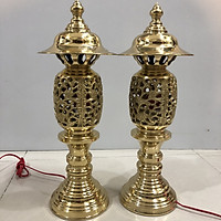 Đôi đèn thờ điện bằng đồng