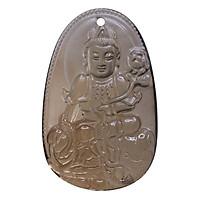 Mặt dây chuyền Phổ Hiền Bồ Tát Thạch anh khói - Phật Bản Mệnh cho người tuổi Thìn, Tỵ size lớn VietGemstones