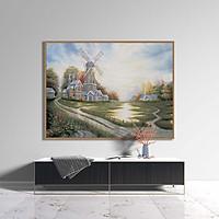 Tranh canvas phong cách sơn dầu - Phong cảnh Cối xay gió - PC011