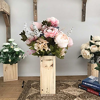 Bình Hoa Giả - Hoa Trà Nhị Đen Và Hoa Trà Bông Lớn - Hoa Vải Cao Cấp - Hoa Đẹp Để Bàn