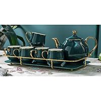 Bộ ấm chén sứ kèm khay kết hợp khung kim loại  pha trà cà phê siêu sang màu xanh cổ vịt - ANTH242
