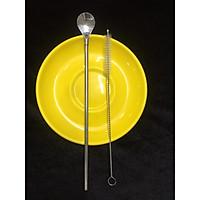 Thìa Ống Hút Inox #304 Cao Cấp 2 Trong 1 - Tặng Kèm Cọ Rửa