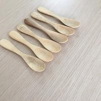 Bộ 6 thìa, muỗng GỖ KEO nhỏ, chuôi lớn màu gỗ sáng 12,5cmx2,4cm - TG09