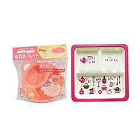 Combo Khay ăn chia 3 ngăn cho bé hình họa tiết dễ thương màu hồng + Bát ăn chia ngăn cho bé màu cam - Nội Địa Nhật Bản