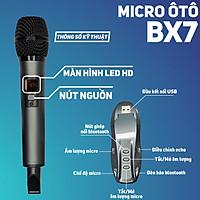 Micro karaoke dành cho ô tô BX7 - Micro không dây đa năng cao cấp - Lọc Âm, Chống Hú, Chống Ồn Và Méo Tiếng Giúp Âm Thanh Phát Ra Trong Trẻo, Mượt Mà - Biến loa vi tính thành loa karaoke - Dùng được cho cả loa kéo, amply, mixer, tivi - Hàng nhập khẩu