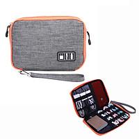 Túi đựng phụ kiện đa năng nhiều ngăn 2 mặt cho Cáp sạc di động, Sạc dự phòng, điện thoại, tai nghe, thẻ nhớ - Hàng chính hãng