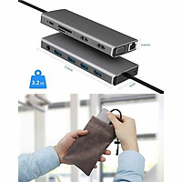 12 in 1 Type C to USB-C USB3.0 HDMI VGA PD Hub Adapter Docking Station for MacBook