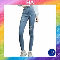 Quần Jean Nữ Lưng Cao H&A Fashion Chất Jean Co Giãn Màu Xanh Rách Kiểu KVQJN604