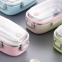 Khay đựng cơm inox 304 kèm hộp + muỗng nhựa- 21x12x7.5cm 265g 700ml