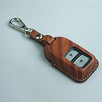 Móc khóa ô tô CRV - H.o.n.d.a - đồ da thủ công - vân gỗ nhạt DT186