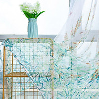 Anti-mosquito Window Curtain with Butterfly Branch Pattern Translucent Tulle for Living Room Balcony
