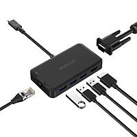 Hub USB-C 7 Trong 1 Dodocool (3 Cổng USB 3.0 + HD / VGA + Type-C PD + RJ-45)