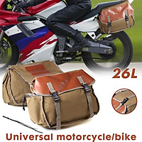 26L Khaki Motorcycle Pannier Side Bags Luggage SaddleBags Cycle Bike for Rider