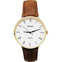 Đồng hồ Nam Halei - HL540 Dây da nâu mặt trắng (Tặng pin Nhật sẵn trong đồng hồ + Móc Khóa gỗ Đồng hồ 888 y hình + Hộp Chính Hãng + thẻ bảo hành