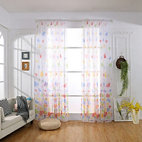 Polyester Bright Flower Pattern Vines Leaves Tulle Door Window Curtains Drape Panel Sheer Scarf Valances Senior Free Shipping