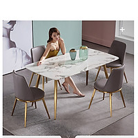 Bộ Bàn Ăn Luxury Mạ Vàng AZP Siêu Phẩm của Năm - Kích Thước 1.4m x 80cm và 4 Ghế (Màu ghế ngẫu nhiên)