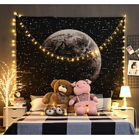 Thảm trang trí - Tranh vải treo tường hình mặt trăng, decor phòng độc đáo + Tặng kèm đèn nháy và móc treo