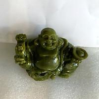 Phật để xe hơi phật di lặc ngọc Việt Nam đá tự nhiên hoàn toàn ngọc serpentine xanh lá cây đậm cho người mệnh Hỏa và Mộc nặng 0.6 kg cao 9 cm