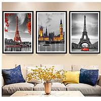 Bộ 3 tranh canvas treo tường Decor PARIS cổ điển và hiện đại - DC106