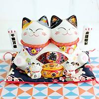 Mèo Thần tài Đôi vẫy tay 20cm Bát Phương Nạp Tài - Chiêu Tài Tấn Bảo