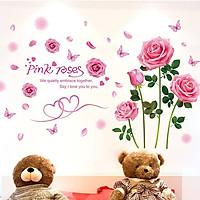 Decal dán tường hoa hồng phấn - HP49