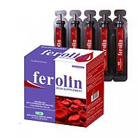Thực phẩm bảo vệ sức khỏe  FEROLIN hộp 20 ống Bổ sung Sắt dạng phức hợp Sắt III và Vitamin B12 cùng với Inulin chống táo bón cho người sử dụng. Sản phẩm dạng ống uống, thơm ngon dễ uống