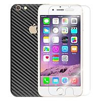 Bộ Kính Cường Lực Dẻo Nano Cho iPhone 6Plus/ 6SPlus (Trong Suốt) Và Miếng Dán Mặt Sau Vân Carbon (Đen) - Hàng Chính Hãng