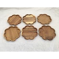 Bộ 6 miếng để lót ly gỗ KEO ,hình Hoa màu gỗ tự nhiên-LL1