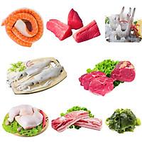 Combo 97: 1kg Lườn cá hồi 1-3 + 1kg Thịt cá ngừ + 1kg Tôm thẻ lột vỏ còn đuôi + 1kg Mực ống làm sạch + 1kg Bắp bò Úc + 1kg Đùi gà góc tư + 1kg Ba chỉ heo rút sườn + 1kg Rong biển tươi