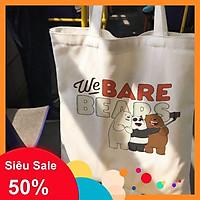 Túi vải bố tote canvas 3 chú gấu We Bare Bears 1 dây đeo vai