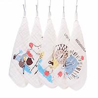 Set 5 khăn sữa 6 lớp chất xô nhăn 100% cotton cao cấp (30 x 30 cm)
