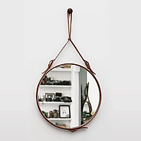 Gương Tròn Gương Soi Gương Trang Điểm Dây Da Cao Cấp Đường Kính 60cm