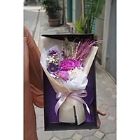 Hộp hoa hồng ướp khô Medium kèm lọ hoa. Style Hàn Quốc