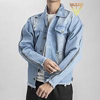 Áo khoác jean 2 dây kéo cá tính may mạc life, áo bò nam phong cách cá tính