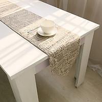 Khăn trải bàn table runner vải bố - Báo chí - mẫu D05