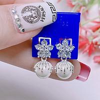Bông tai bạc mặt hoa treo trai chất liệu bạc s925 MS07g