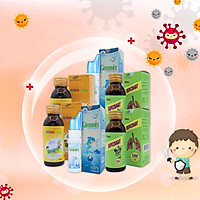 Combo tăng đề kháng cho bé Xịt mũi GreenSix, Vitamin tổng hợp Focus Children, Siro ho SkipCought