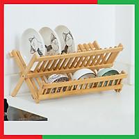 Giá kệ gỗ úp chén bát đĩa đa năng 2 Tầng,Có thể gấp gọn để mang di chuyển thuận lợi,Kích thước 43 x 24 x 26,Gỗ tre chống mối mọt cong vênh,Màu vàng gỗ tre nguyên bản - Khay gỗ úp chén bát đĩa 2 tầng