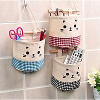 Bộ 3 giỏ mini treo tường trang trí vải bố hình mèo