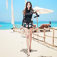 Sanqi (SANQI) split swimsuit female Jingdong self-operated long-sleeved flat-angle small chest gathered conservative thin cover belly large size sexy hot spring swimsuit 19056 black XXXL