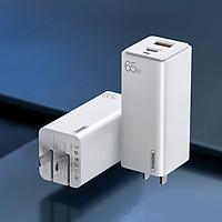 Sạc Nhanh Remax 65W GaN Công Nghệ Mới Siêu Nhỏ Mini, 2 Cổng Sạc Type C & USB Chuẩn QC3.0/PD3.0, Sạc Cho Đa Thiết Bị Tất Cả Trong Một - Hàng Chính Hãng