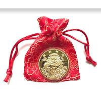 Đồng Xu Hình Con Rồng Màu Vàng Giúp Mang Lại Năng Lượng Mạnh Mẽ Cho Gia Chủ - TMT Collection - MS373