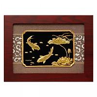 Tranh Cá Chép Hoa Sen Dát Vàng 24K